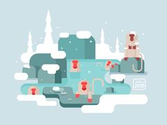 Macaques in warm water winter Stock Illustration