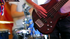 Professional Musician Playing Guitar In Music Band Stock Footage