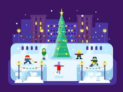 Municipal skating rink Christmas tree - stock illustration