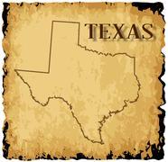 Old Texas Map Stock Illustration