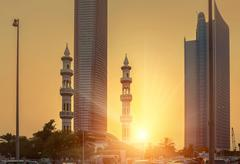 Sunset view on Abu Dhabi dountown Stock Photos