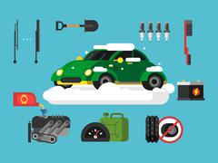 Preparing car to winter Stock Illustration