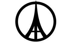 Eiffel Tower Peace Symbols Stock Illustration