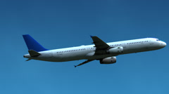 Unidentified air liner flying in blue sky Stock Footage