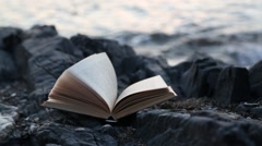 Sheets of the book turned over in the wind. Sea shore Stock Footage