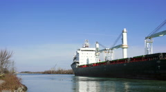 Ship on Welland Canal Stock Footage