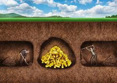 Business people dig a tunnel to treasure - stock photo
