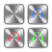 Color headset steel buttons - stock illustration