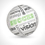 Success theme sphere with keywords - stock illustration