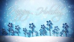 Winter Flowers in the Snow Happy Holidays Stock Footage