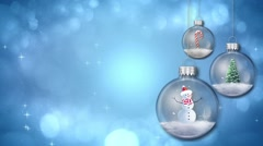 Swinging Ornaments on Blue Merry Christmas Text Loop - stock footage