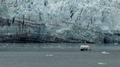 Boat near Alaskan Glacier Stock Footage