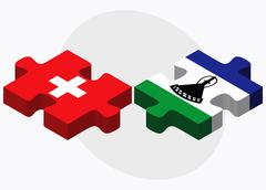 Switzerland and Lesotho Flags - stock illustration