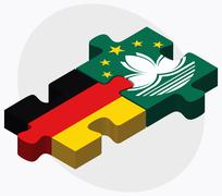 Germany and Macau Flags - stock illustration
