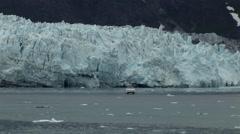 Small Boat near Glacier in Alaska Stock Footage