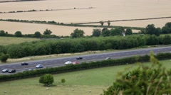 M40 Motorway near Aston Rowant National Nature Reserve Stock Footage