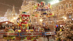 Carousel Merry-go-round Christmas fair on Red Square in Moscow Arkistovideo