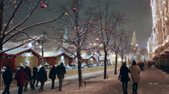 Christmas fair on Red Square in Moscow, Russia - stock footage