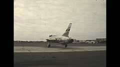 Vintage 16mm Film, 1955, USAF Military, F105 Thunderchief taxi rear view - stock footage