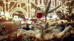 Christmas tree bauble under snow closeup Stock Footage