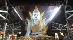 "Big Buddha in ""Nga Htat Gyi"" Pagoda, Yangon Myanmar Stock Footage"