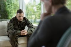 Soldier during counseling session - stock photo