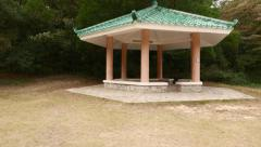 Modern Chinese pavilion stand empty at forest glade, slide view Stock Footage