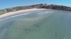 Aerial shot of a surf lineup Stock Footage