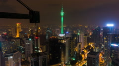 Time Lapse of Kuala Lumpur Tower light up with the color of the flag of France Stock Footage
