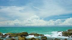 Rocky Tropical Beach on a Calm Sea, with Sound Stock Footage