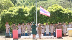 Stock Video Footage of Scout Camp in primary school Bangkok Thailand