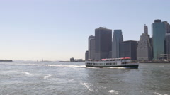 Summer day east river new york water traffic manhattan panorama 4k usa Stock Footage