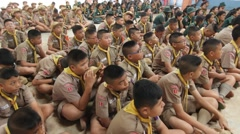 Scout Camp in primary school Bangkok Thailand - stock footage