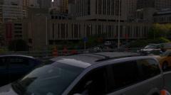 Sunset time manhattan eastside brooklyn bridge traffic view 4k usa Stock Footage