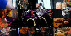 Musicians playing instruments and people dancing Stock Footage