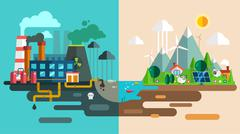 Green eco city die ecology concept. New energy type Stock Illustration