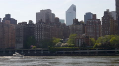 Summer day roosevelt island new york manhattan eastside panorama 4k usa Stock Footage