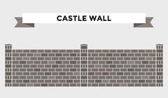 Stone bricks fence isolated on white background - stock illustration