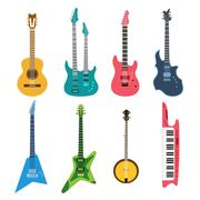Stock Illustration of Acoustic and electric guitars vector set