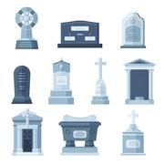 Tombs stone grave vector construction set Stock Illustration