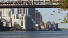 Queensboro bridge manhattan summer day roosevelt island view 4k usa Stock Footage