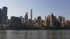 Summer day manhattan uptown roosevelt island panorama 4k usa Stock Footage