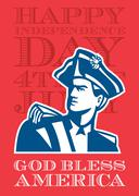 Independence Day Greeting Card-American Patriot Soldier Bust. - stock illustration