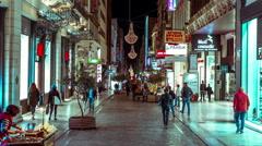 People on Ermou commercial street in Monastiraki of Athens,night timelapse 25p Stock Footage