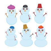 Set of cute cartoon funny snowman for winter design isolated on white background Stock Illustration