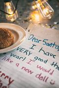 Holiday: Child Letter To Santa With Edison Bulbs - stock photo