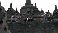 EDITORIAL - People sightseeing Borobudur temple in Indonesia Stock Footage