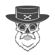 Head hunter skull with beard, hat and glasses vector. Rover logo template - stock illustration