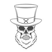 Steampunk Head hunter skull with beard and high hat vector. Old man rover logo Stock Illustration