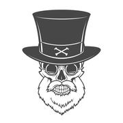 Head hunter skull with beard, hat and glasses vector. Victorian Rover logo Stock Illustration